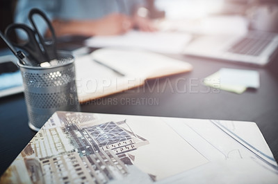 Buy stock photo Shot of objects on a desk in a home office