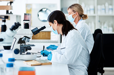 Buy stock photo Shot of a young scientist working in a lab with her colleague in the background