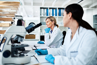 Buy stock photo Shot of a mature scientist working on a computer in a lab alongside a colleague