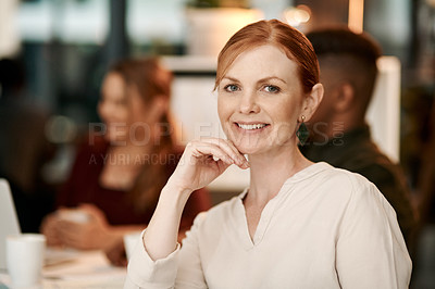 Buy stock photo Portrait of a confident businesswoman having a team meeting in a modern office