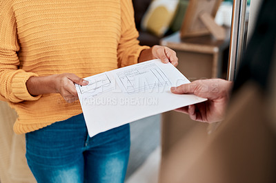Buy stock photo Cropped shot of a woman receiving an invoice for a delivery at home