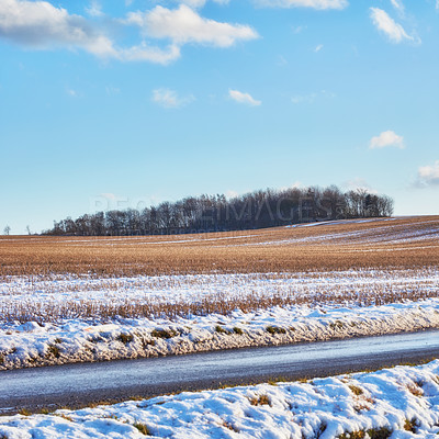 Buy stock photo Winter landscape on a sunny day with blue sky