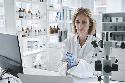Buy stock photo Shot of a mature scientist putting on protective gloves while working in a lab