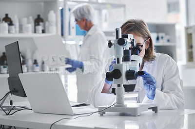 Buy stock photo Shot of a mature scientist using a microscope in a lab with her colleague in the background