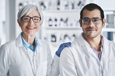 Buy stock photo Portrait of two scientists working together in a lab