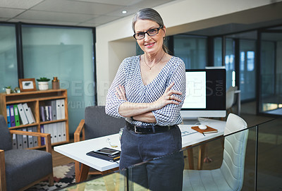 Buy stock photo Portrait of a confident mature psychologist working in a modern office