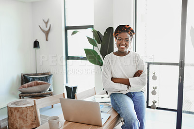 Buy stock photo Portrait of a young woman in her home office