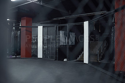 Buy stock photo Still life shot of a boxing ring in a gym
