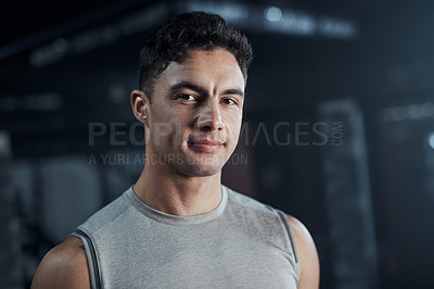 Buy stock photo Portrait of a confident young man at a gym