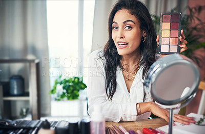 Buy stock photo Shot of a influencer recording a makeup tutorial for her blog at home