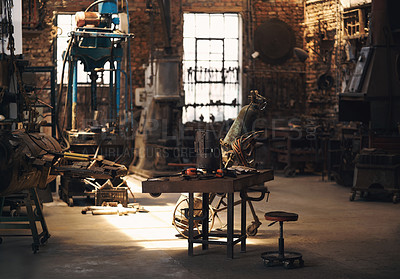 Buy stock photo Shot of an empty work room at a foundry