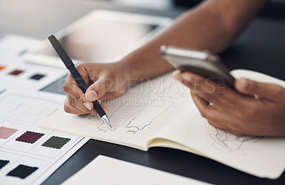 Buy stock photo Closeup shot of an unrecognisable designer using a cellphone while sketching in a notebook in an office