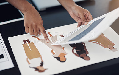 Buy stock photo Closeup shot of an unrecognisable designer working with sketches and colour swatches in an office