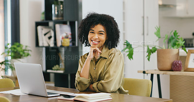 Buy stock photo Portrait of a young woman working from home
