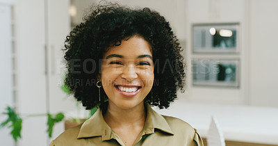 Buy stock photo Portrait of a cheerful young woman at home