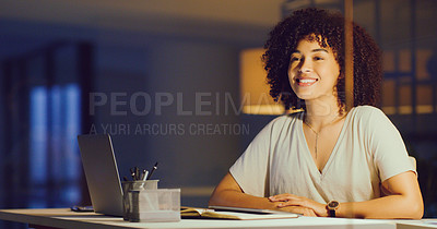 Buy stock photo Shot of a happy young businesswoman looking thoughtful during a late night in a modern office