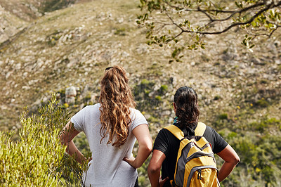 Buy stock photo Rearview shot of two young women admiring the view while out hiking in nature