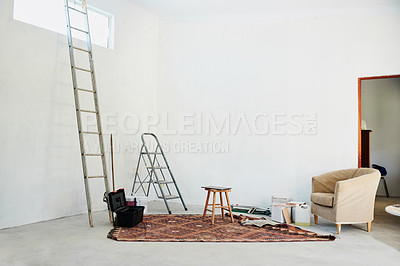 Buy stock photo Shot of an empty home that's being renovated