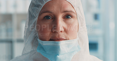 Buy stock photo Portrait of a masked doctor wearing a hazmat and face mask