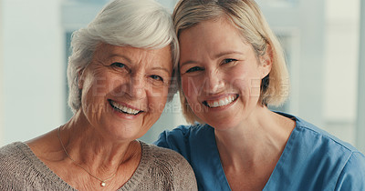Buy stock photo Portrait of a senior woman being cared for by a nurse at home