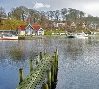Buy stock photo A photo of a Wooden pier and very old ferry station in the city of Silkeborg, Denmark
