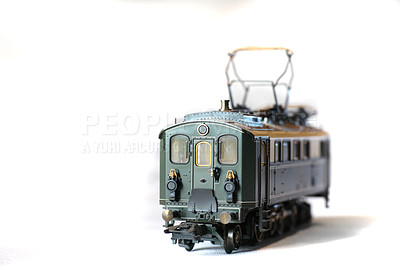 Buy stock photo Model trains and streetcar