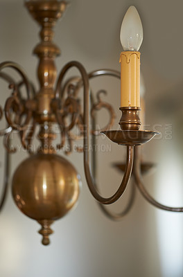 Buy stock photo Ornate chandelier made of brass