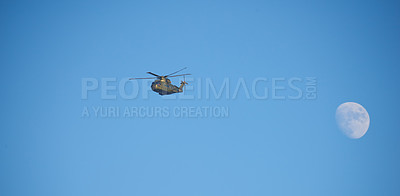 Buy stock photo Helicopter and blue sky
