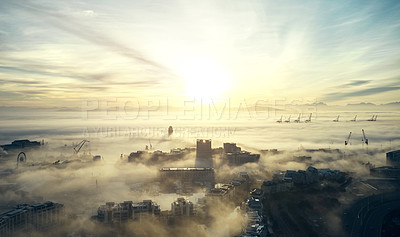 Buy stock photo Shot of mist and clouds along the coast of Cape Town in South Africa
