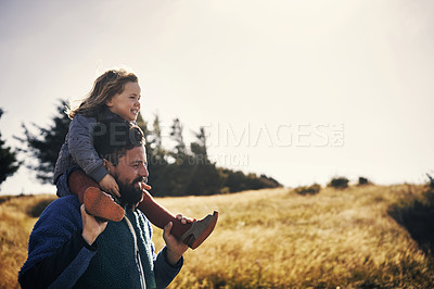 Buy stock photo Shot of a young man out on an adventure with his daughter