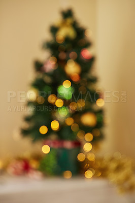 Buy stock photo Shot of a decorated Christmas tree at home