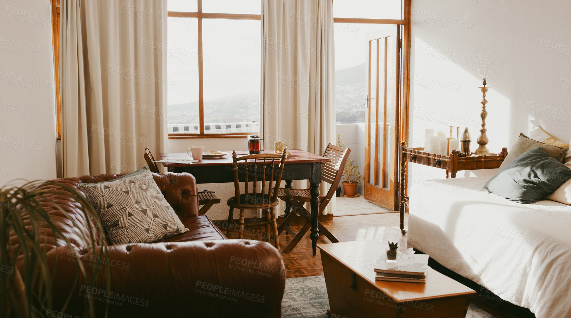 Buy stock photo Still life shot of a rustic apartment