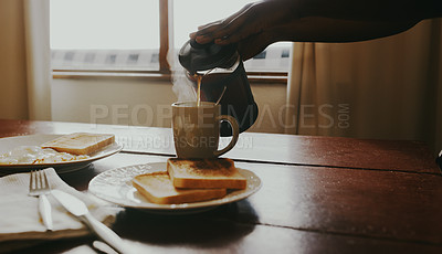 Buy stock photo Cropped shot of an unrecognisable woman pouring fresh coffee from a plunger