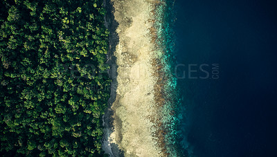 Buy stock photo High angle shot of the beautiful islands of Indonesia