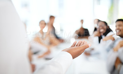 Buy stock photo Closeup shot of an unrecognisable businessman giving a presentation in a boardroom