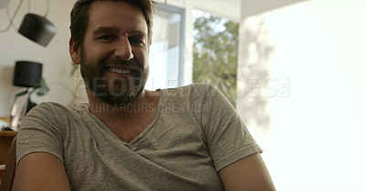 Buy stock photo Portrait of a mature man relaxing on the sofa at home