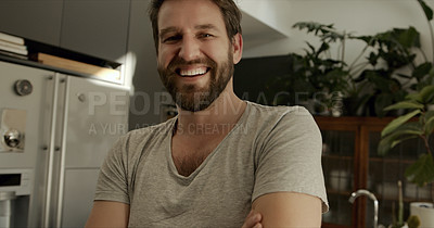 Buy stock photo Portrait of a confident mature man spending the day at home