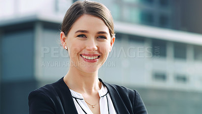 Buy stock photo Portrait of a confident young businesswoman in the city