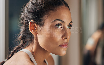 Buy stock photo Cropped shot of an attractive young female athlete in the gym