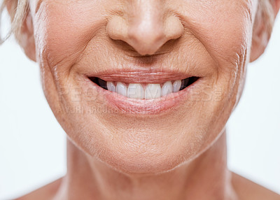 Buy stock photo Cropped shot of a mature woman's mouth
