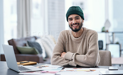 Buy stock photo Portrait of a confident young man working from home