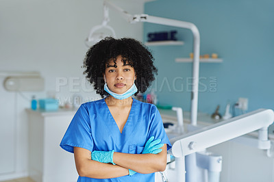 Buy stock photo Portrait of a confident young woman working in a dentist's office