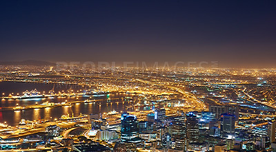 Buy stock photo Cape Town after sunset - view from Signal Hill, South Africa