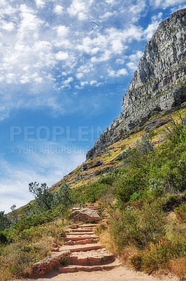 Buy stock photo Mountain trails on Lion's Head, Table Mountain National Park, Cape Town, South Africa