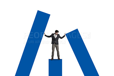 Buy stock photo Shot of a businessman leaning against a graph against a white background