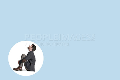 Buy stock photo Shot of a businessman trapped in a circle against a blue background