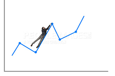 Buy stock photo Shot of a businessman hanging onto a rising graph against a white background
