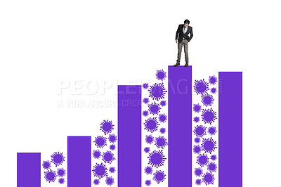 Buy stock photo Shot of a businessman balancing on top of a graph against a white background