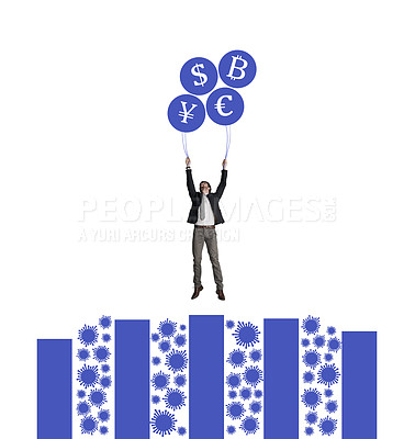 Buy stock photo Shot of a businessman holding on to a bunch of cryptocurrency balloons on top of a viral graph against a white background
