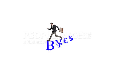 Buy stock photo Shot of a businessman carrying a bag and running above a financial symbols against a white background
